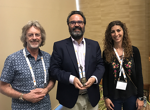 Past ESPCR President Ian Jackson, new ESPCR President Lluis Montoliu and new combined ESPCR Secretary-Treasurer Cecilia Herraiz at the IPCC-2017 meeting in Denver, CO, USA