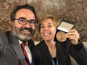 Marisol Soengas, Fritz Anders awardee, and Lluis Montoliu, ESPCR President