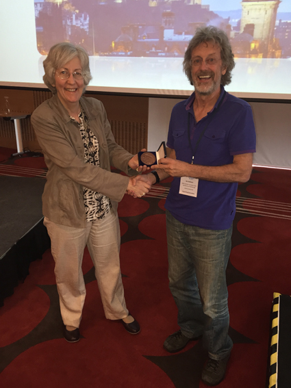 Dot Bennett receiving the Fritz Anders Medal from Ian Jackson for her lecture at the ESPCR 2015 meeting in Edinburgh
