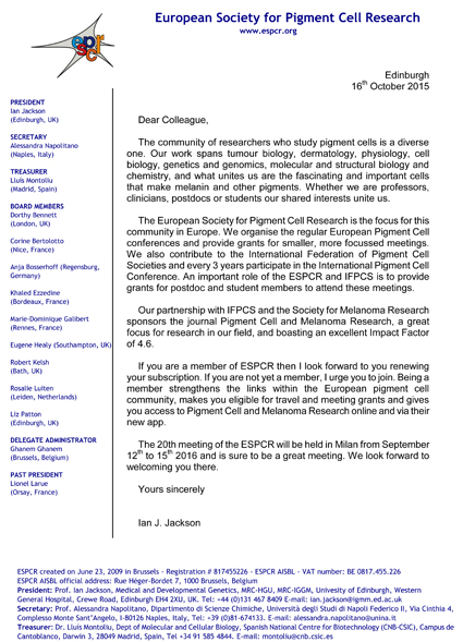 2015 JOINING/RENEWAL CAMPAIGN: Welcome letter from ESPCR President: Prof. Ian Jackson