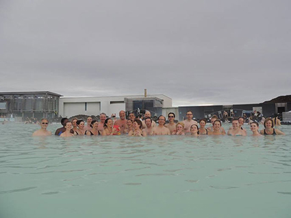 Students and teachers at the blue Lagoon