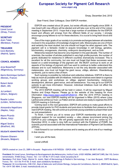 2013 Welcome Letter from ESPCR President Prof. Lionel Larue