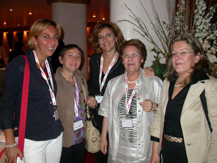 Prof. Rosina Cicero (Univ. Bari) - second from right - with her colleagues and collaborators Anna Gallone, Gabriella Guida and Immacolata Maida in Bari (2007), at the 14th ESPCR annual meeting she hosted and co-organized with Prof. Mauro Picardo