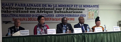 From left to right: Robert Aquaron, Charlotte Baker, the Rector of the University of Douala, Albert Mouelle and the President of ASMODISA