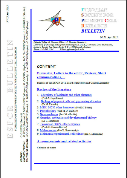 New ESPCR Bulletin published, n 72 (April 2012)