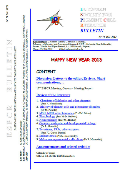 New ESPCR Bulletin published, n 74 (December 2012)
